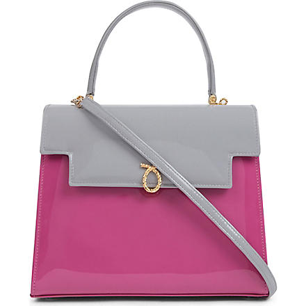 LAUNER Traviata patent leather handbag (Dove/magenta