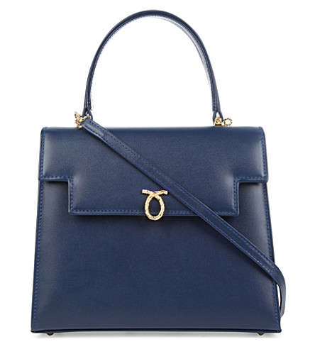 LAUNER Traviata leather tote (Indigo