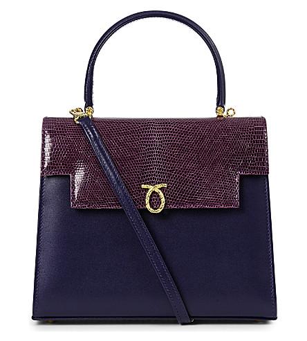 LAUNER Traviata lizard leather tote (Dark+purple
