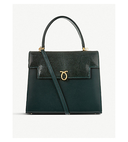 LAUNER Traviata leather tote (Dark+green