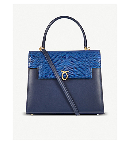 LAUNER Traviata handbag (Indigo calf/ blue