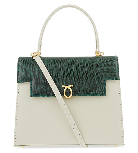 LAUNER Traviata calf & lizard leather tote (Beige+calf/green+lizard