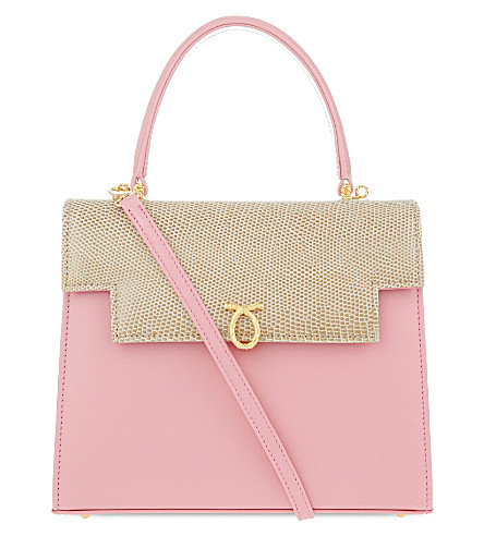 LAUNER Traviata calf & lizard leather tote (Pink/beige+lizard/navy