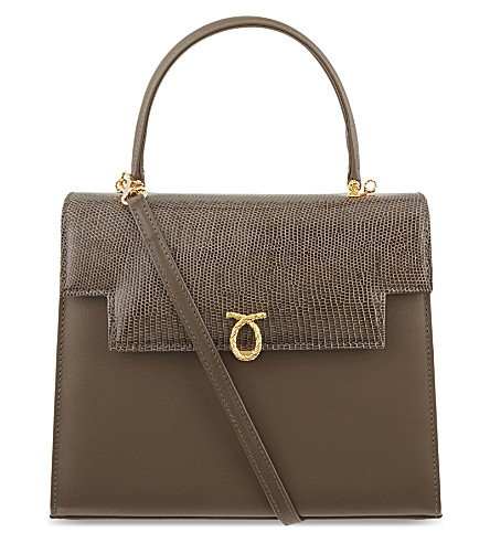LAUNER Traviata calf & lizard leather tote (Taupe