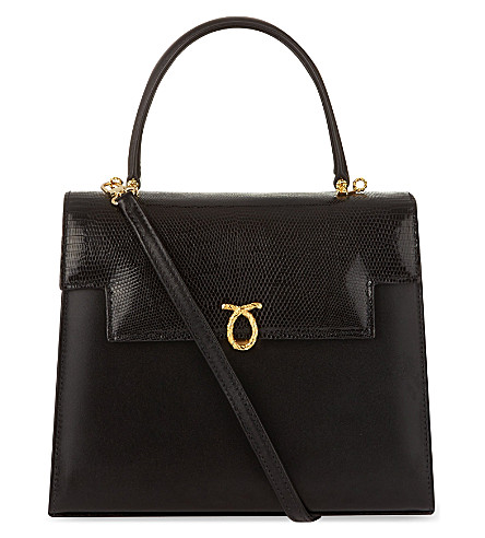 LAUNER Traviata calf & lizard leather tote (Black
