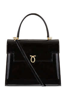 LAUNER Traviata patent-leather tote