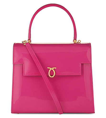 LAUNER Traviata patent-leather tote (Magenta