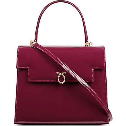 LAUNER Traviata patent leather handbag (Raspberry