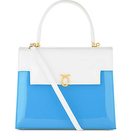 LAUNER Traviata patent leather handbag (White/cyan