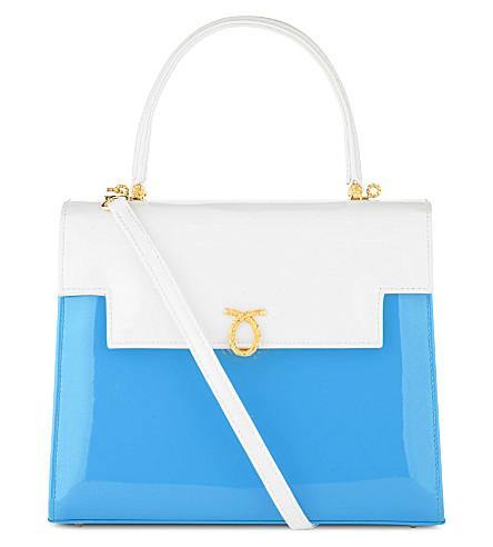 LAUNER Traviata patent leather handbag (White/cyan