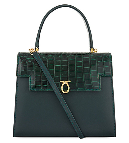 LAUNER Traviata leather tote (All+croc+dark+green