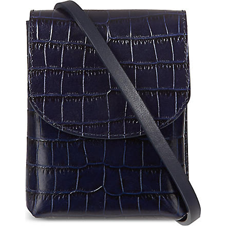 MAISON MARTIN MARGIELA Embossed croc camera bag (Midnight