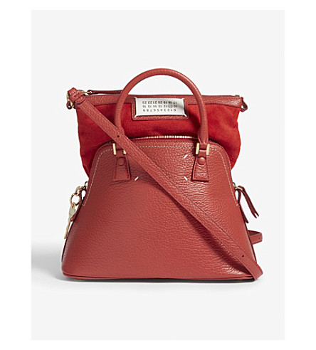 MAISON MARGIELA Classic expandable small leather tote (Red
