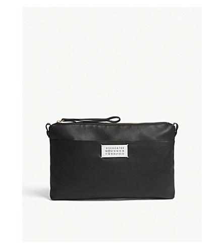 MAISON MARGIELA Logo leather zipped clutch (Black
