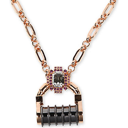 MAWI Padlock crystal necklace (Gold