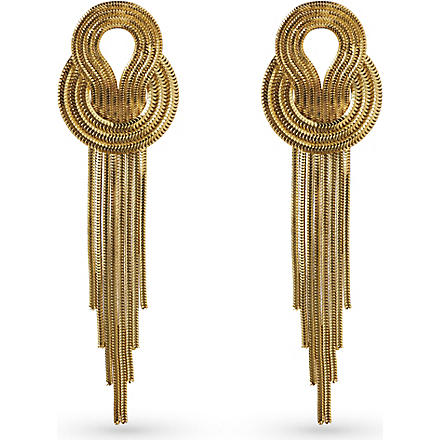 LARA BOHINC Saturn 22ct gold-plated drop earrings (Gold