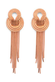 LARA BOHINC Saturn 22ct rose gold-plated drop earrings