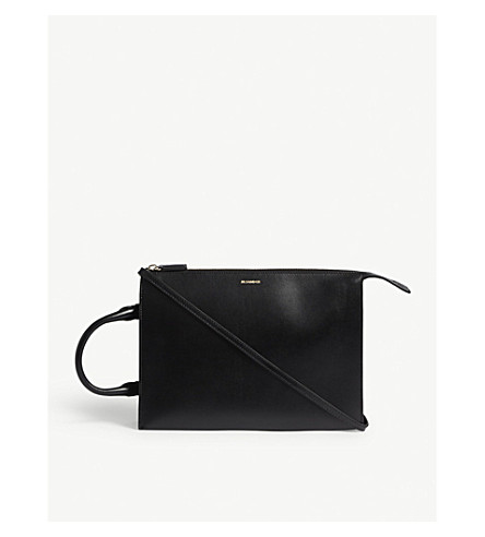 JIL SANDER Side handle leather clutch bag (Black