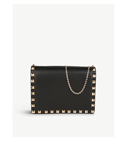 VALENTINO Studded nappa leather cross-body pouch (Black