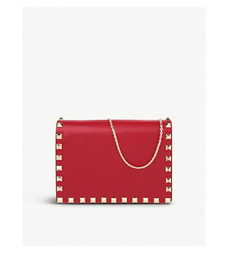 VALENTINO Studded nappa leather cross-body pouch (Red+valentino