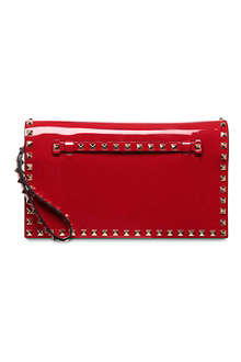 VALENTINO Rockstud patent-leather wristlet clutch
