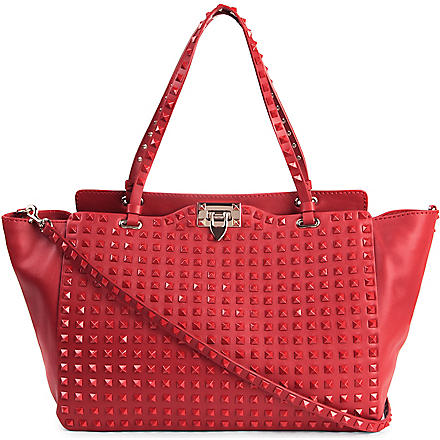 VALENTINO Rockstud leather tote (Rosso