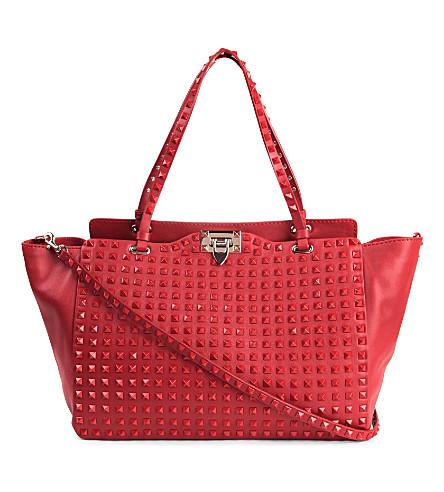 VALENTINO Rockstud leather tote (Rosso