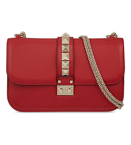 VALENTINO Lock stud leather clutch (Red