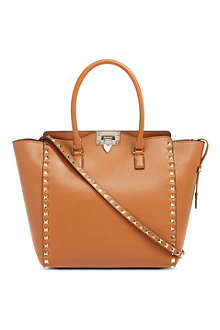 VALENTINO Gold stud leather tote