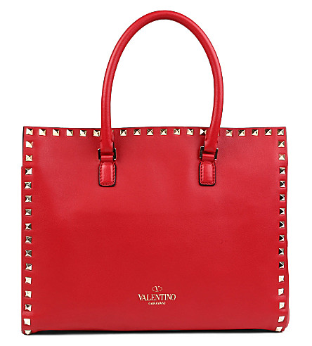 VALENTINO Rockstud leather tote (Red