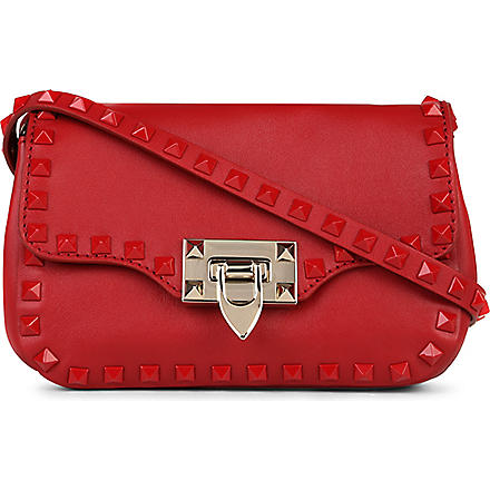 VALENTINO Studded leather shoulder bag (Red