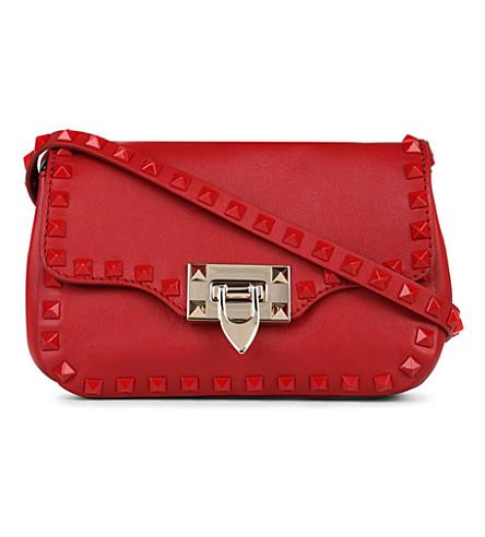 VALENTINO Studded leather shoulder bag (Red