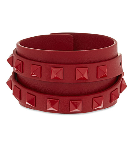 VALENTINO Double wrap stud cuff bracelet (Red