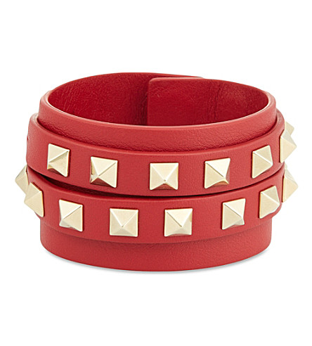 VALENTINO Double wrap stud bracelet (Red