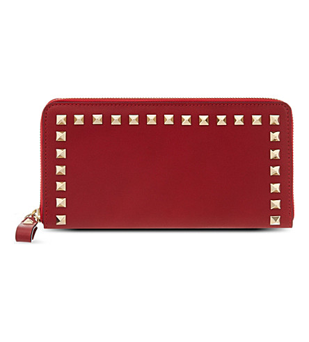 VALENTINO Rockstud continental leather wallet (Red