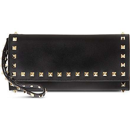 VALENTINO Studded leather wristlet wallet (Black
