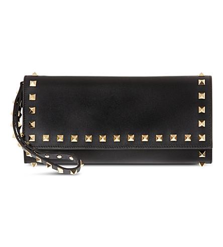 VALENTINO Studded leather wristlet wallet (Black