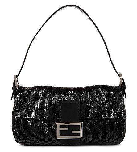 FENDI Baguette-embellished shoulder bag (Black