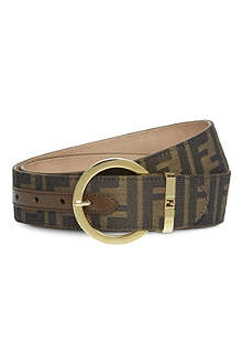 FENDI Zucca fabric round buckle belt