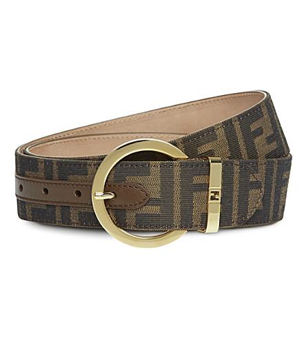 FENDI Zucca fabric round buckle belt (Tobacco