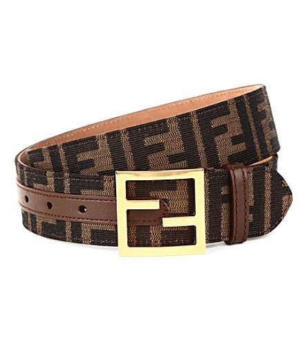 FENDI Zucca leather-trimmed belt (Tobacco