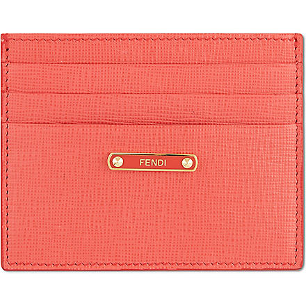 FENDI Crayon saffiano card holder (Pink