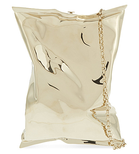 ANYA HINDMARCH Crisp packet clutch (Gold+brass