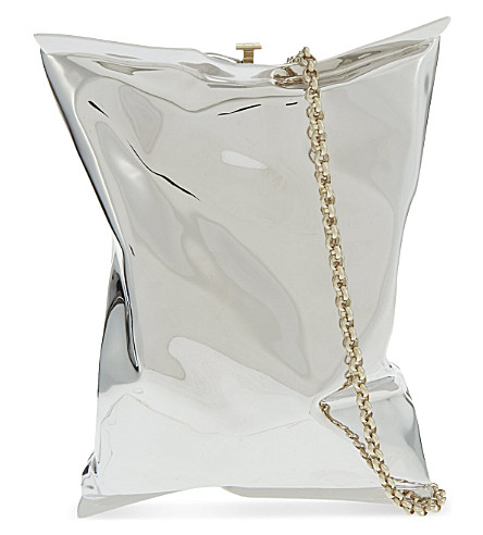 ANYA HINDMARCH Crisp packet clutch (Silver+brass