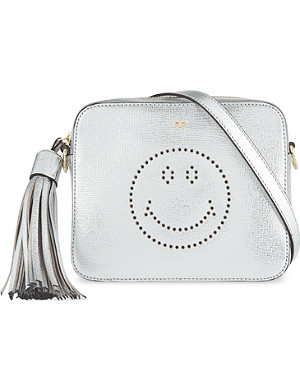 ANYA HINDMARCH Smiley metallic leather crossbody bag