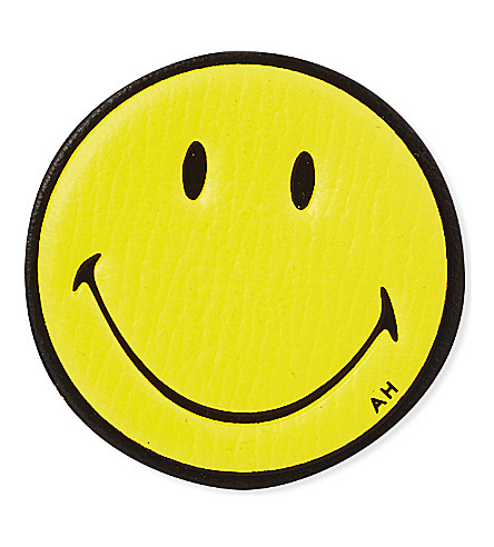 ANYA HINDMARCH Smiley leather sticker (Mustard