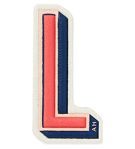 ANYA HINDMARCH L leather sticker (Chalk