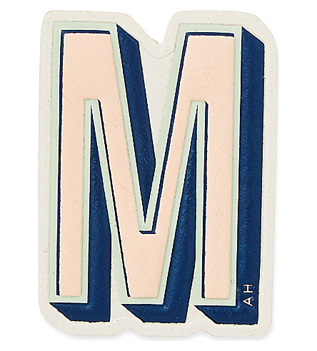 ANYA HINDMARCH M leather sticker (Chalk