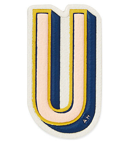 ANYA HINDMARCH U leather sticker (Chalk