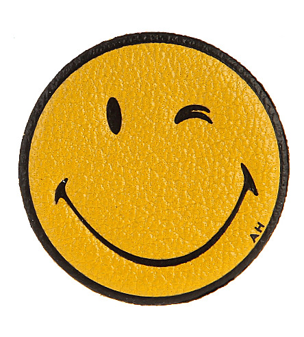 ANYA HINDMARCH Wink Smiley leather sticker (Mustard